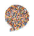 diverse people group in social chat bubble shape vector image