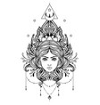 divine goddess black and white girl over sacred vector image vector image