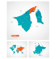 editable template map brunei with marks vector image vector image