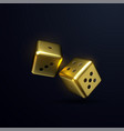 golden dices isolated on black background vector image
