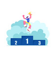 happy athlete on winners podium jump with gold vector image vector image