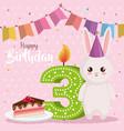 happy birthday card with rabbit vector image vector image