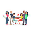 happy couples around bench isolated vector image vector image