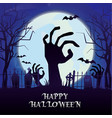 happy halloween horror night bat zombie hand moon vector image
