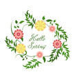 hello spring floral wreath on white background vector image vector image