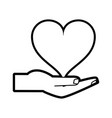 isolated heart over hand design vector image vector image