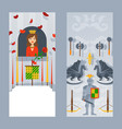 knight in full armor and lovely princess in vector image vector image