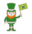 leprechaun character holding flag with clover vector image vector image