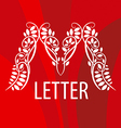 Logo letter M with a vegetative ornament on a red vector image vector image