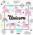 magic unicorns hand drawn childish background vector image