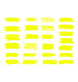 marker yellow lines highlighter brush vector image vector image