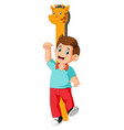 measuring with body on giraffe measure height vector image vector image