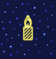neon christmas candle icon in line style vector image vector image