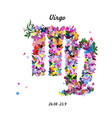 Pattern with butterflies cute zodiac sign - virgo vector image vector image