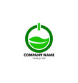 power button and leaves logo template design vector image vector image
