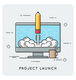 project launch and start up thin line concept vector image vector image
