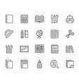 school supplies flat line icons set study tools vector image vector image