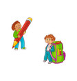 schoolboys with extralarge school supplies vector image vector image