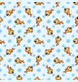 seamless pattern with cute golden cartoon fish vector image vector image