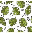 seamless stylized natural monstera leaves pattern vector image vector image