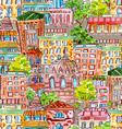 seamless texture with a cute cityscape watercolor vector image vector image
