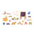 set kid plush and plastic toys chalkboard vector image