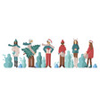 set men and girls dressed in winter holidays vector image vector image