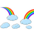 set of rainbows with clouds vector image