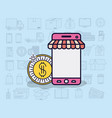 smartphone with parasol and ecommerce icons vector image vector image