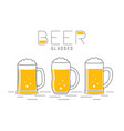 three glasses of beer vector image vector image