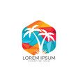 tropical beach and palm tree logo design vector image vector image