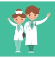 two kids act as doctor nurse medical staff funny vector image