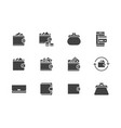wallet flat glyph icons set purse with money vector image vector image