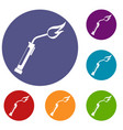 welding torch icons set vector image vector image
