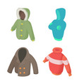 winter clothes icon set cartoon style vector image vector image