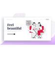 woman visit beauty salon website landing page vector image vector image