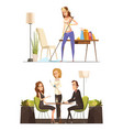 young woman at home and in coffee house vector image vector image