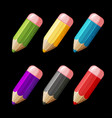cartoon set of colored wood pencils vector image