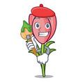 artist crocus flower character cartoon vector image vector image