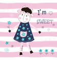 Baby background with cute cow vector image vector image