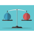 Balance weighing two spheres vector image vector image