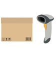 Barcode scanner and box vector image vector image