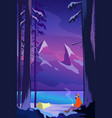 Beautiful winter landscape flat design concept