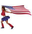 beautiful young woman cheerleader carries us flag vector image