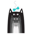 black gray cat head looking at blue bow hanging on vector image vector image