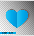 blue paper heart isolated on transparent vector image