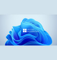 blue wavy shapes on a black background 3d trendy vector image
