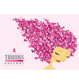 Breast cancer awareness happy woman pink ribbon vector image vector image