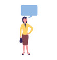 businesswoman with briefcase speech bubble vector image