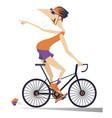 cartoon man rides a bike isolated vector image vector image